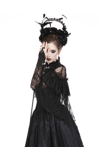 Gothic lace oversleeve with ribbon rope AGL002 - Gothlolibeauty