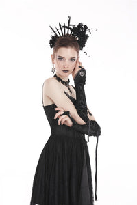 Gothic velvet lace up gloves AGL003 - Gothlolibeauty