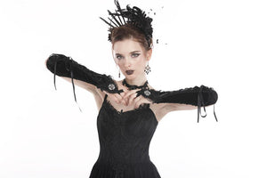 AGL003 Gothic velvet lace up gloves