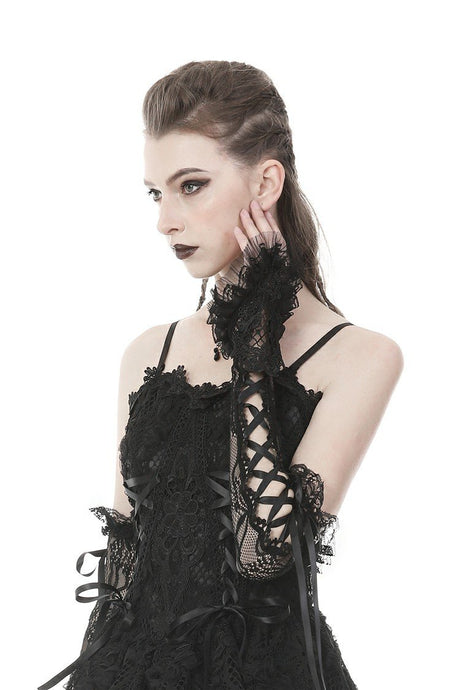 Gothic lace up lacey gloves AGL007