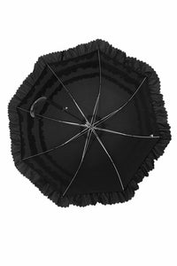 AUM006 Black lolita three layer ruffles long umbrella parasol