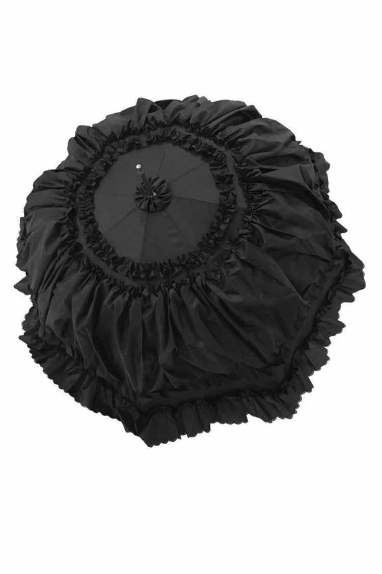 AUM008 Black lolita lady princess ruffles waterproof long umbrella parasol