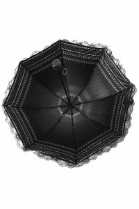 AUM010 Black lolita lace waterproof  telescopic umbrella - Gothlolibeauty