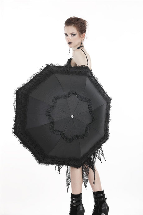 Black lolita princess lace telescopic umbrella AUM011 - Gothlolibeauty