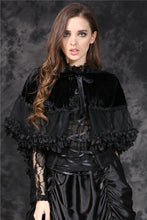 Load image into Gallery viewer, BW038 gothic lolita Korea velvet black cape cloak with double layer lace - Gothlolibeauty