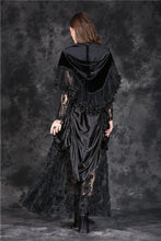 Load image into Gallery viewer, Gothic lolita Korea velvet Black cape cloak with double layer lace BW038 - Gothlolibeauty