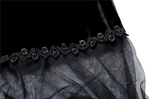 BW038 gothic lolita Korea velvet black cape cloak with double layer lace - Gothlolibeauty