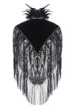 Load image into Gallery viewer, BW041 Gothic velvet cape with tassels lace