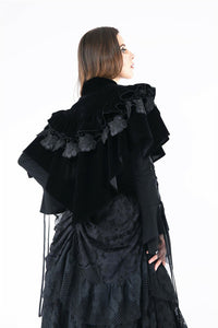 BW042 Gothic lolita cape with velvet and lace layer upon layer