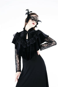 BW043 Gothic black cape hearted shaped capelet - Gothlolibeauty