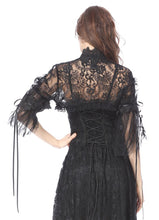 Load image into Gallery viewer, Gothic lolita gorgeous lace cape with messy gauze short sleeves BW045 - Gothlolibeauty