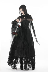 Gothic witch mesh hooded cape BW065 - Gothlolibeauty