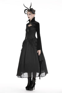 Gothic women velvet black vampire cape with bat big sleeves BW069 - Gothlolibeauty