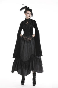 Gothic Black velvet witch cape with long big sleeves BW070 - Gothlolibeauty