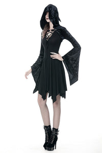 Gothic shining velvet witch cape with pointed cap BW077 - Gothlolibeauty