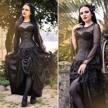 Load image into Gallery viewer, KW090 Gothic lace long skirt with satin crimple - Gothlolibeauty
