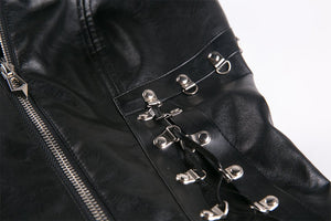 Punk PU leather corset with side rope design via metal D buckle CW026 - Gothlolibeauty