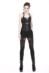 Gothic decorative pattern corset with rope on certral front design CW027 - Gothlolibeauty