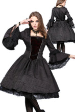 Load image into Gallery viewer, DW038 Victorian gothic dress with lace flare sleeve (not including petticoat)