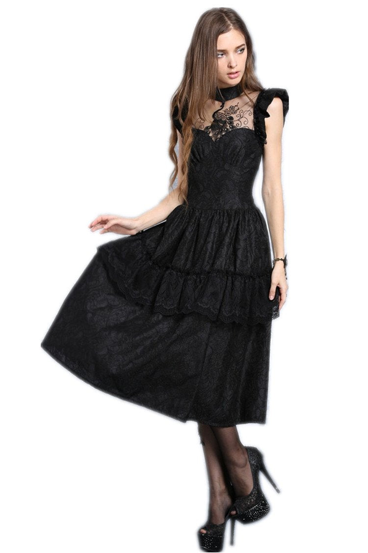 DW043 gothic lolita peacock dress summer women party black dress (no petticoat included)