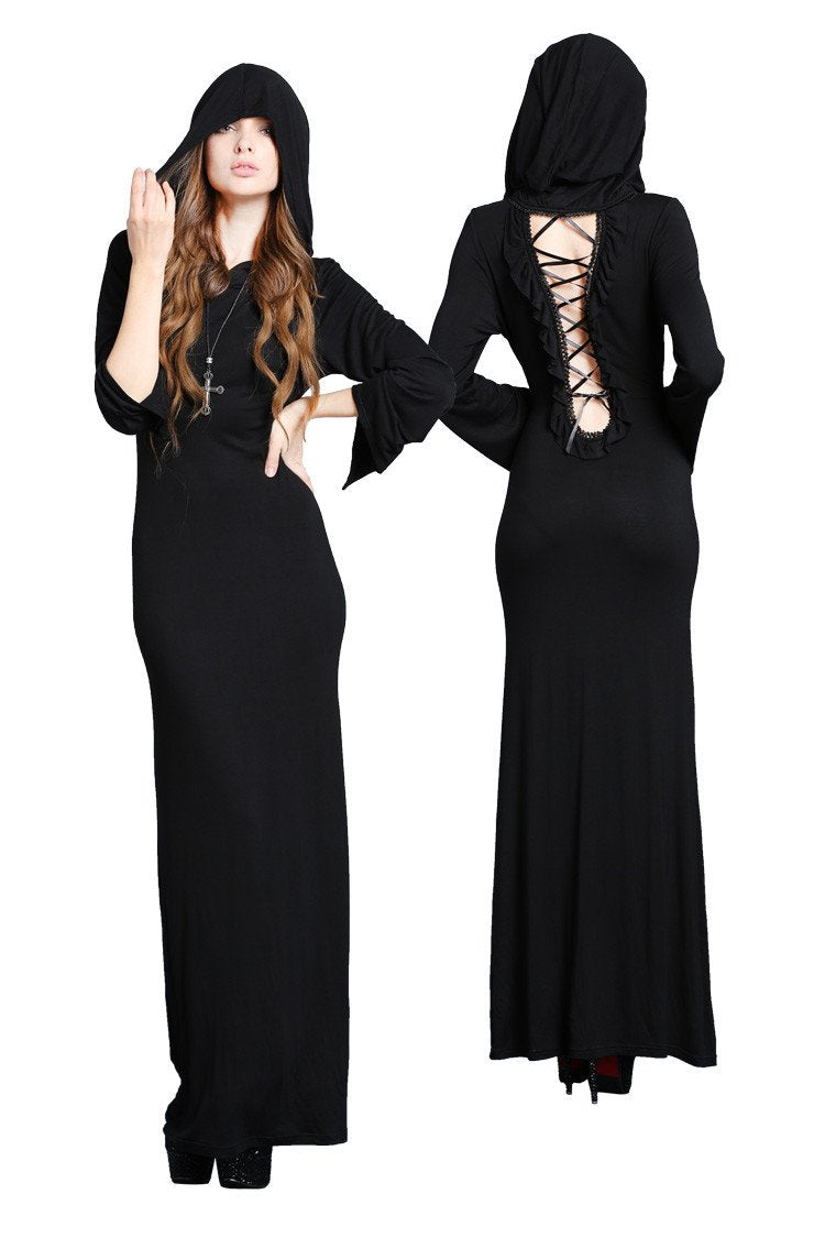 DW051 solf long T dress with back sexy hollow out