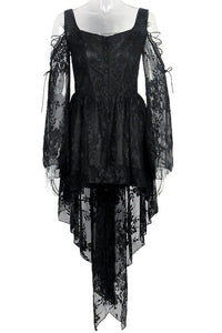 DW053BK Gothic dress of ghost cocktail lace with button row