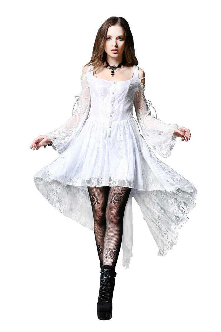 Gothic ghost cocktail lace dress with button row DW053WH - Gothlolibeauty