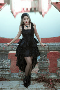 DW069 Elegant gothic jacquard fishtail dress with flowers(price is not including petticoat)