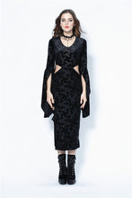 Load image into Gallery viewer, Gothic flocking long dress with triangle on waist DW108 - Gothlolibeauty