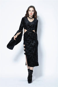 Gothic flocking long dress with triangle on waist DW108 - Gothlolibeauty