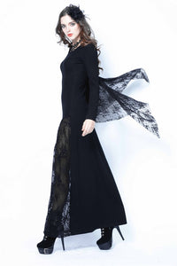 Gothic bat lace sleeve dress with oblique hem DW109 - Gothlolibeauty