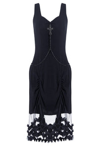 Gothic sleeveless dress with cross and chain DW111 - Gothlolibeauty