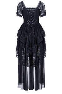 Gothic lolita puff sleeves lace tail dress DW129 - Gothlolibeauty