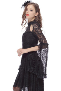 Gothic lace sexy dress with cat ear shape on top DW139 - Gothlolibeauty