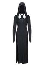 Load image into Gallery viewer, DW148 Gothic long knitted hooded dress with hollow out cross - Gothlolibeauty