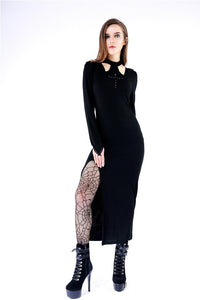 Gothic long knitted hooded dress with hollow out cross DW148 - Gothlolibeauty