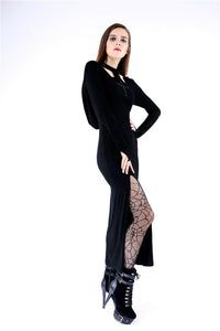 DW148 Gothic long knitted hooded dress with hollow out cross