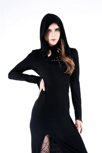 DW148 Gothic long knitted hooded dress with hollow out cross - Gothlolibeauty