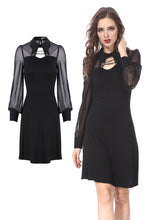 Load image into Gallery viewer, Punk Black spider neck dress DW159 - Gothlolibeauty