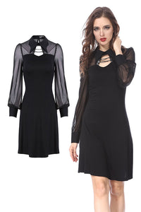 DW159 Punk Black spider neck dress - Gothlolibeauty