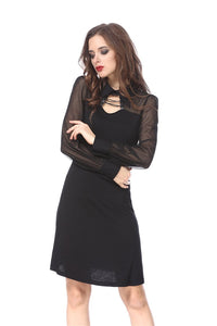 DW159 Punk Black spider neck dress
