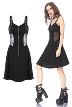 Load image into Gallery viewer, Punk midi halter dress with spider mesh slim waist design DW160 - Gothlolibeauty