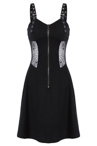 Punk midi halter dress with spider mesh slim waist design DW160 - Gothlolibeauty
