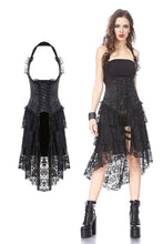 Load image into Gallery viewer, Gothic corset dress with lace cocktail hem DW162BK - Gothlolibeauty