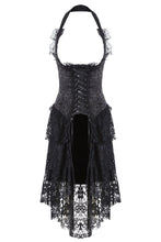 Load image into Gallery viewer, DW162BK Gothic corset dress with lace cocktail hem - Gothlolibeauty