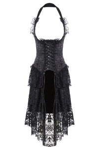 Gothic corset dress with lace cocktail hem DW162BK - Gothlolibeauty