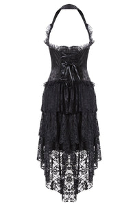 DW162BK Gothic corset dress with lace cocktail hem - Gothlolibeauty