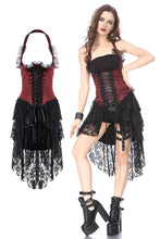 Load image into Gallery viewer, DW162RD Gothic corset dress with lace cocktail hem - Gothlolibeauty