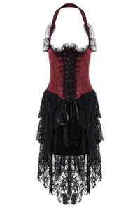 DW162RD Gothic corset dress with lace cocktail hem - Gothlolibeauty