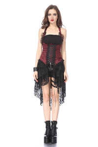 Gothic corset dress with lace cocktail hem DW162RD - Gothlolibeauty